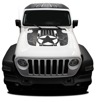 Front hood of white Jeep Wrangler Hood Decals JOURNEY HOOD JL 2018-2020 Digital Print or Avery Supreme or 3M 1080 Wrap Vinyl
