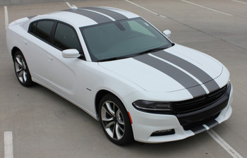 Passenger angle of N-CHARGE RALLY 15 | Dodge Charger Racing Stripes Hood Decal Roof Bumpers Vinyl Graphic fits 2015-2020