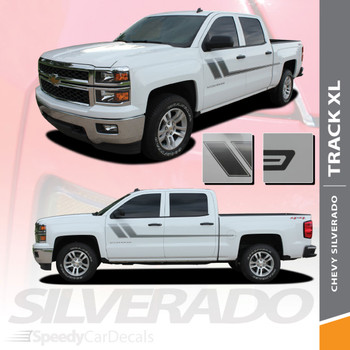 TRACK XL : 2007-2018 Chevy Silverado or GMC Sierra Side Door Hockey Decal Vinyl Graphic Stripe Kit