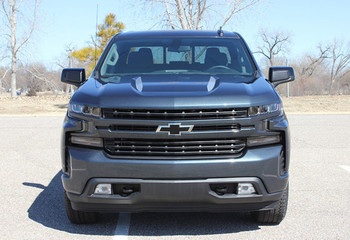 Front view of 2020 Chevy Silverado Hood Stripes 1500 HOOD SPIKE 2019 2020 2021