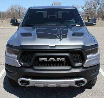 Dodge Ram Rebel 1500 REB HOOD Vinyl Graphics Decals for 2019-2021 Dodge Ram Models (SCD-6943)