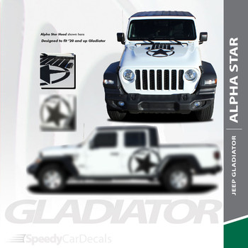 ALPHA HOOD : Jeep Gladiator Hood Decals with Star Vinyl Graphics Stripes for 2020-2021
