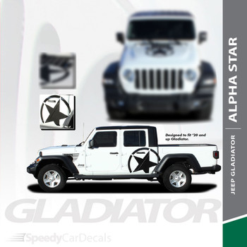 ALPHA SIDES : Jeep Gladiator Side Door Star Decals Vinyl Graphics Stripe Kit for 2020-2021