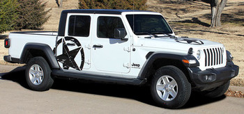 LEGEND SIDES : Jeep Gladiator Side Door Star Decals Vinyl Graphics Stripe Kit for 2020-2021