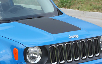 Front angle of New! TRAILHAWK style Jeep Renegade Hood Stripes 2014-2021