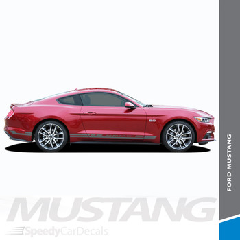 HASTE ROCKER : 2015-2017 Ford Mustang Lower Rocker Panel Side Stripes Vinyl Graphic Decals