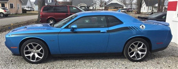 Side of blue Shaker, Hellcat Hemi RT Dodge Challenger Stripes DUEL 15 2015-2021