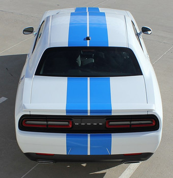 Rear of white NEW! RT, Hellcat, Scat Pack Dodge Challenger Rally Stripes 2015-2020
