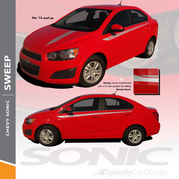 SWEEP : 2012-2016 Chevy Sonic Hood Graphic and Lower Rocker Panel Vinyl Graphic Stripe Decals