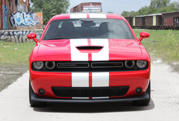 Front of red Dodge Challenger RT, Hellcat, Scat Pack Rally Racing Stripes 2015-2020