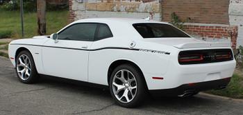 Side of White R/T Dodge Challenger Factory Stripe style SXT SIDE KIT 2011-2020