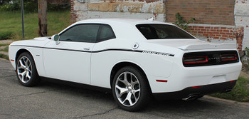 Side of White R/T Dodge Challenger Factory Stripe style SXT SIDE KIT 2011-2020 2021