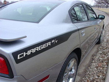 Rear of Gray 2014 2014 Dodge Charger Hemi Hood Decals RECHARGE HOOD 2011-2014