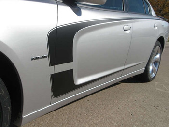 Side of Gray 2013 Dodge Charger RT Decals Body Kit C STRIPE 2011 2012 2013 2014