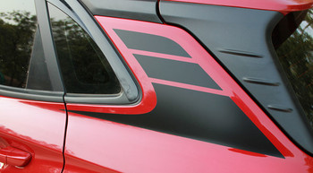 Profile of  red Hyundai Kona Stripes SPIRE KIT 2020-2021