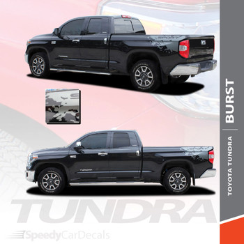 BURST | Toyota Tundra Rear Bed Vinyl Graphics with Upper Body Accent Stripe Decals Kit 2015-2021 Premium and Supreme Install