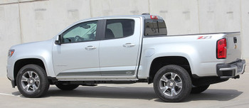 Side of Silver Z71 4X4 Chevy Colorado Rocker Stripes RAMPART 2015-2021