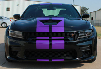 Front view of a black Dodge Charger SRT 392 Hellcat Stripes N CHARGE RALLY 15 2015-2021