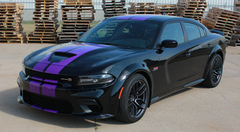 Angle of a black Dodge Charger SRT 392 Hellcat Stripes N CHARGE RALLY 15 2015-2021
