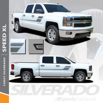 SPEED XL : 2007-2018 Chevy Silverado GMC Sierra Hockey Side Door Vinyl Graphic Decal Stripe Kit