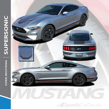 2018 2019 2020 2021 Ford Mustang MACH 1 Style Racing Stripe Wide Center Decals SUPERSONIC (Digital Print)