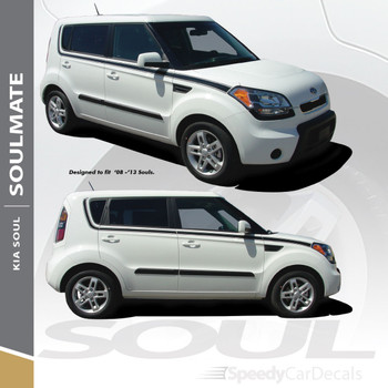 SOULMATE Side Decals Graphics Vinyl Stripes for 2010- 2013 Kia Soul 3M Wet and Avery Dry Install