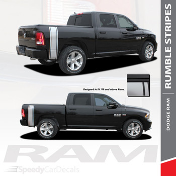RUMBLE : 2009-2018 Dodge Ram Rear Truck Bed Stripes Vinyl Graphics Decals Kit