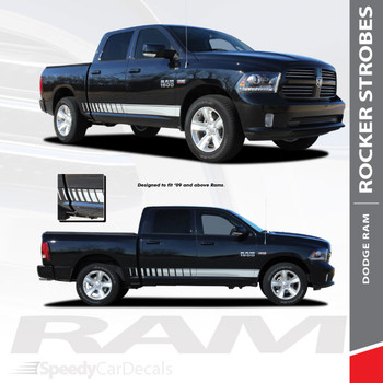 ROCKER STROBES : 2009-2018 Dodge Ram Lower Rocker Panel Door Stripes Vinyl Graphics Decal Kit