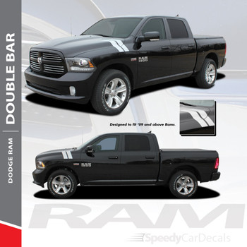 RAM DOUBLE BAR : 2009-2018 Dodge Ram Hood Hash Marks Stripes Decals Vinyl Graphics Kit