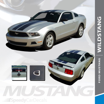 WILDSTANG 10 : 2010-2012 Ford Mustang Hood Roof Trunk Racing Stripes Rally Vinyl Graphic Kit