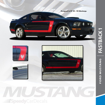 FASTBACK 1 : 2005-2009 Ford Mustang Boss Style Side Door Vinyl Graphics Rally Decal Striping Kit