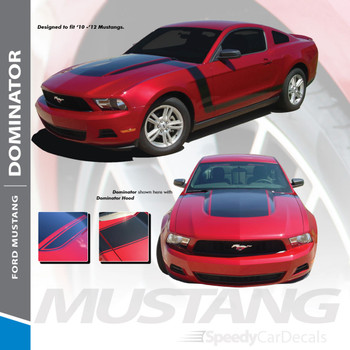 DOMINATOR BOSS : 2010-2012 Ford Mustang Hood and Sides Vinyl Graphics Decal Striping Kit
