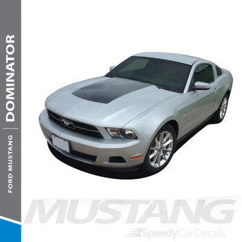 DOMINATOR HOOD : 2010-2012 Ford Mustang Center Hood Blackout Vinyl Graphics Decal Kit
