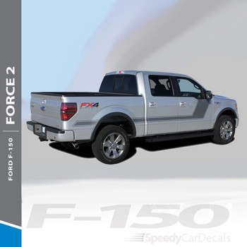 "FORCE TWO SCREEN : 2009-2014 and 2015-2018 Ford F-150 Hockey Stripe ""Appearance Package Style"" Vinyl Graphics Decals Kit"