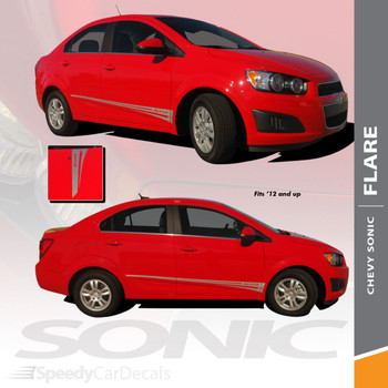 FLARE : 2012-2016 Chevy Sonic Hood Graphic and Lower Rocker Panel Vinyl Graphic Stripe Decals