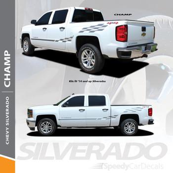 CHAMP : 2014-2018 Chevy Silverado or GMC Sierra Checkered Flag Bed Side Vinyl Graphic Decal Stripe Kit