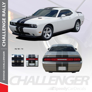 "RALLY : 2011-2014 Dodge Challenger 10"" Racing Stripes Vinyl Graphics Rally Striping Kit"