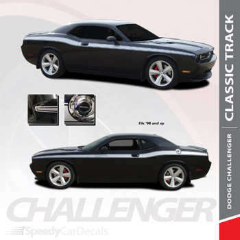 CLASSIC TRACK : 2008-2018 2019 Dodge Challenger Upper Door Accent Vinyl Graphic Striping Decal Kit