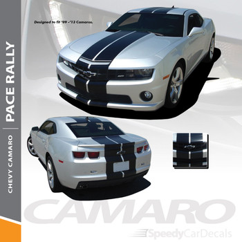 "PACE RALLY : 2010-2013 Chevy Camaro Indy Style 10"" Racing Stripes Bumper Hood Roof Trunk Vinyl Graphics Decal Kit"