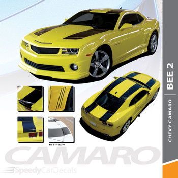 BEE 2 : 2010-2015 Chevy Camaro Bumblebee Tranformers Style Hood Racing Stripes Vinyl Graphics Kit