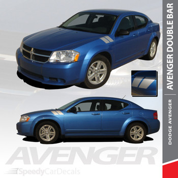 AVENGED DOUBLE BAR : 2008-2014 Dodge Avenger Hood to Fender Hash Vinyl Graphics Decal Stripe Kit