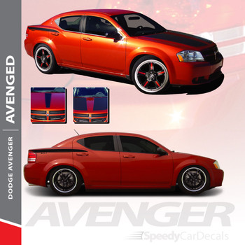 AVENGED : 2008-2014 Dodge Avenger Hood Quarter and Trunk Vinyl Graphics Decals Stripe Kit