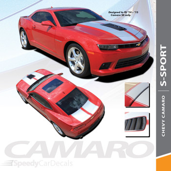S-SPORT : 2014-2015 Chevy Camaro SS Hood Rally Racing Stripes Vinyl Graphics Trunk OEM Style Decal Kit