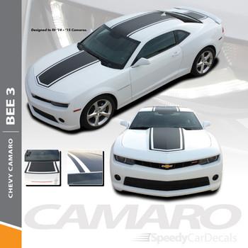 BEE 3 : 2014-2015 Chevy Camaro Wide Center Outline Hood Roof Trunk Vinyl Graphics Racing Stripes Decals Kit
