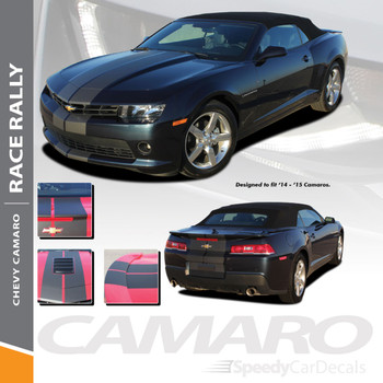 RACE RALLY : 2014-2015 Chevy Camaro Indy Style Hood Rally Vinyl Graphics Racing Stripes Kit for All Models