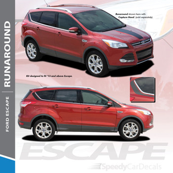 RUNAROUND : 2013-2019 Ford Escape Upper Body Line Vinyl Graphics Decal Stripe Kit