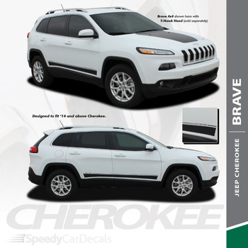 BRAVE : 2014-2020 Jeep Cherokee Lower Rocker Panel Body Door Vinyl Graphics Decal Stripe Kit