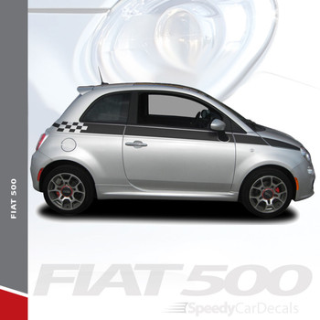 SE 5 CHECK : 2011-2019 Fiat 500 Upper Side Door Abarth Vinyl Graphics Stripes Decals Kit