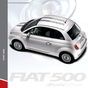 CHECK RALLY : 2011-2019 Fiat 500 Abarth Hood Roof Vinyl Graphics Stripes Decals Kit