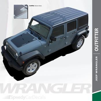 OUTFITTER : 2007-2017 Jeep Wrangler Hood Blackout Vinyl Graphics Decal Stripe Kit